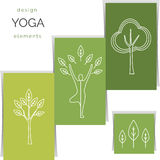 Vector yoga illustration. Set of linear yoga icons, yoga logos in outline style. Royalty Free Stock Image