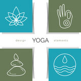 Vector yoga illustration. Set of linear yoga icons, yoga logos in outline style. Royalty Free Stock Images