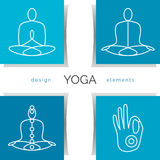Vector yoga illustration. Set of linear yoga icons, yoga logos in outline style. Stock Images