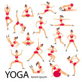 Vector yoga illustration set Women Sketch asana Girl Healthy lifestyle Royalty Free Stock Photo