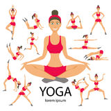 Vector yoga illustration set Women Sketch asana Girl Healthy lifestyle Stock Photos