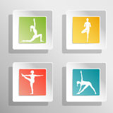 Vector yoga illustration. Square buttons with girls silhouette. Colorful yoga buttons. Сonvex buttons with shadows. Green, red, yellow, blue buttons for yoga Stock Image
