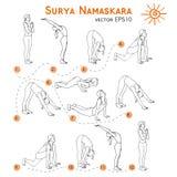 Vector yoga illustration. Surya Namaskara. Yoga set. Royalty Free Stock Photos