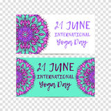 Vector yoga illustration. Template of poster for International Yoga Day. Flyer for 21 june, Yoga day Stock Images