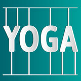 Vector yoga illustration. White inscription Yoga. EPS,JPG. White inscription Yoga. Vector yoga illustration. Name of yoga studio in white and green colors Royalty Free Stock Photo