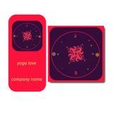 Vector yoga illustration. Yoga cards with abstract and yoga symbols. Identity design for yoga studio, yoga center, class. Magazine, presentation. Template of stock illustration