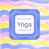 Vector yoga illustration. Yoga poster with floral ornament and your text. Identity design for yoga studio, yoga center or class. T Royalty Free Stock Photography
