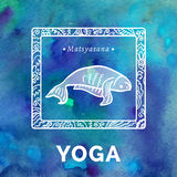 Vector yoga illustration. Yoga poster with yoga pose. Poster for yoga studio or yoga class on a blue watercolors background. Yoga card with a fish in Royalty Free Stock Image