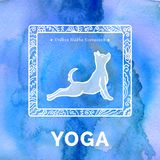 Vector yoga illustration. Yoga poster with yoga pose. Poster for yoga studio or yoga class on a blue watercolors background. Yoga sticker with a dog. Yoga Royalty Free Stock Photo