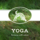 Vector yoga illustration. Yoga poster with a yoga pose. Poster for yoga studio or yoga class on a blurred grass background. Yoga card with a dog in Adho Mukha Royalty Free Stock Image