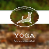 Vector yoga illustration. Yoga poster with a yoga pose. Poster for yoga studio or yoga class on a blurred nature background. Yoga card with a dog in Urdhva Stock Photography
