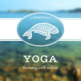 Vector yoga illustration. Yoga poster with yoga pose. Poster for yoga studio or yoga class on a blurred sea background. Yoga card with a fish in Matsyasana Royalty Free Stock Photos