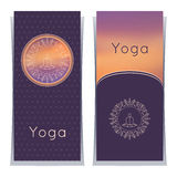 Vector yoga illustration. Yoga posters with floral ornament and yogi silhouette. Identity design for yoga studio, yoga center or c Royalty Free Stock Photos
