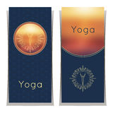 Vector yoga illustration. Yoga posters with floral ornament and yogi silhouette. Identity design for yoga studio, yoga center or c Stock Photo