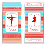 Vector yoga illustration. Yoga posters with floral ornament and yogi silhouette. Identity design for yoga studio, yoga center, cla Stock Image
