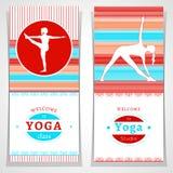 Vector yoga illustration. Yoga posters with watercolor texture and yogi silhouette. Identity design for yoga studio, yoga center, Stock Photos