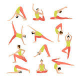 Vector yoga illustration. Yoga set. Women yoga. Royalty Free Stock Photos