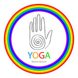 Vector yoga illustration in zentangle style. Hand as emblem Stock Images