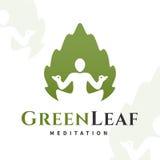 Vector yoga leaf logo concept. Harmony insignia design. Wellness center illustration Royalty Free Stock Image