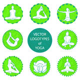 Vector yoga logo set. Position and meditation in round frame Stock Photography