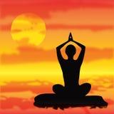 Vector Yoga meditation pose Royalty Free Stock Photos