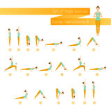 Vector yoga set in flat style. Royalty Free Stock Images