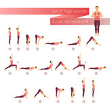 Vector yoga set in flat style. Stock Photos