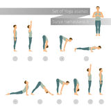 Vector yoga set in flat style. Stock Photography