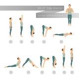 Vector yoga set in flat style. Surya namaskar A. Sun salutation complex. Ashtanga vinyasa yoga Stock Photography
