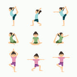 Vector yoga set illustration. girl yoga exercises. in lesson Stock Image