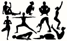 Vector yoga silhouettes 10 best asanas for women. Yoga set. Royalty Free Stock Images