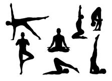 Vector yoga silhouettes Royalty Free Stock Photos