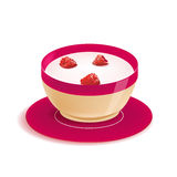 Vector yogurt in plate with berries isolated Royalty Free Stock Photo