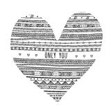 Vector Only You card with ethnic tribal ornamental style heart Stock Photography
