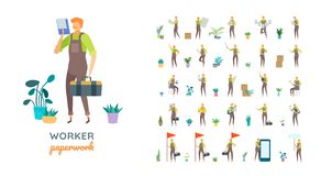 Vector young adult man in worker overalls ready-to-use character casual poses set in flat style stock illustration