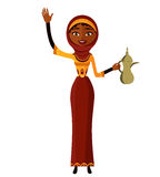 Vector - young arab woman holding an Arabic coffee pot. Cheerful young lady waving her hand. Stock Images