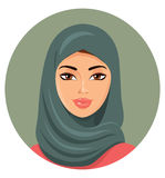 Vector - young beautiful arab woman in a green hijab. Eps 10 Stock Images