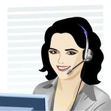 Vector young beautiful girl telephone operator. Beautiful young girl smiling brunette phone operator in headphones Stock Images