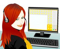 Vector young beautiful girl telephone operator. Beautiful young girl Brown telephone operator in headphones in the workplace Royalty Free Stock Image