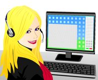 Vector Young beautiful girl telephone operator. Beautiful young girl blonde telephone operator in headphones in the workplace Royalty Free Stock Photography