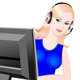 Vector young beautiful girl telephone operator Royalty Free Stock Images