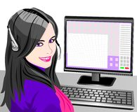 vector Young beautiful girl telephone operator Royalty Free Stock Photos