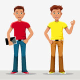 Vector young boy in a cardboard cartoon style Royalty Free Stock Photography