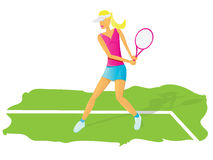 Vector Young glamour girl play tennis. Royalty Free Stock Image
