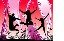 Vector young people. Vector silhouette young people jumping Stock Images