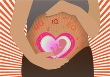 Vector - young pregnant woman. Symbol, stylized  sketch Stock Images