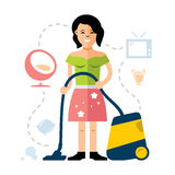 Vector Young woman cleaning with a vacuum cleaner. Flat style colorful Cartoon illustration. Royalty Free Stock Photos