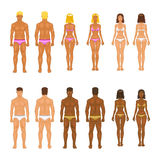Vector young woman and guy in underwear. Body stock illustration