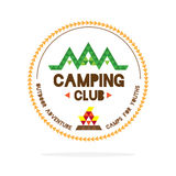 Vector : Youth camping club logo with mountain and camp fire in. Polygon style on white background , Logo concept Royalty Free Stock Photo