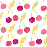 Vector yummy cherries seamless pattern background Stock Images